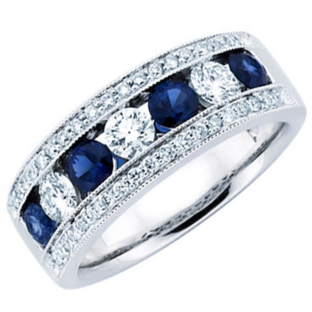 Ladies Blue Sapphire Wedding Band Ring sapphire wedding bands 1 50 ct Ladies Blue Sapphire Wedding Band Ring