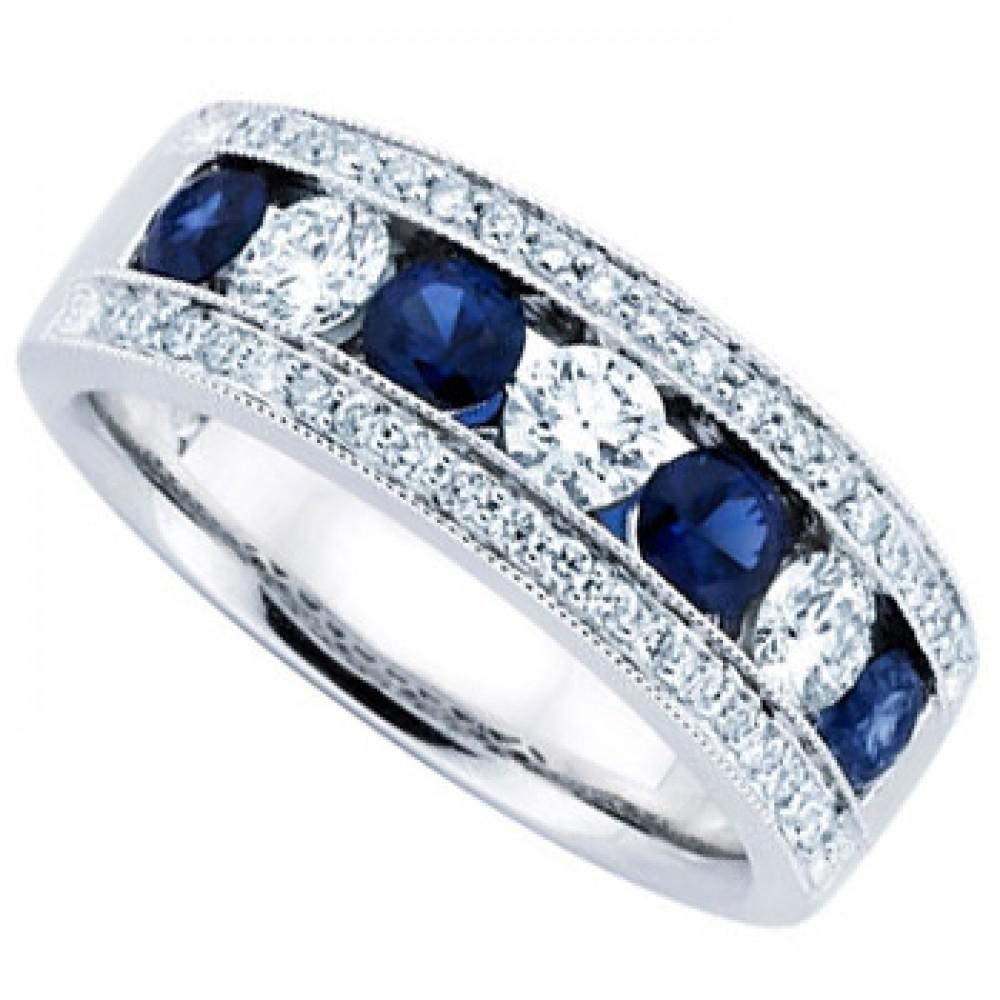Ladies Blue Sapphire Wedding Band Ring womens wedding band 1 50 ct Ladies Blue Sapphire Wedding Band Ring