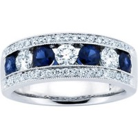 1.50 ct Ladies Blue Sapphire Wedding Band Ring