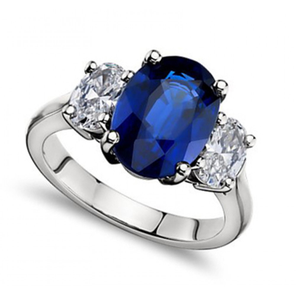 ct Oval Shape Sapphire With Oval Shape Diamond Anniversary Ring