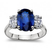 9.45 ct Oval Shape Sapphire With Oval Shape Diamond Anniversary Ring