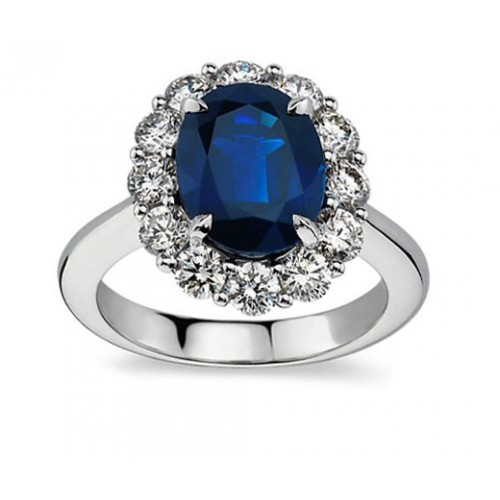 7.28 ct Oval Shape Sapphire And Diamond Engagement Ring