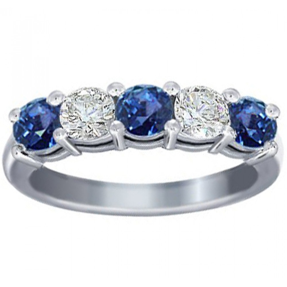 bands ring cut blue band wedding diamond with and prong sapphire set round ct