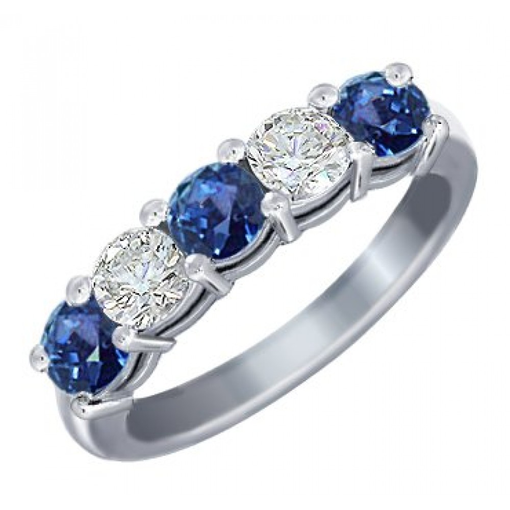 1.00 Ct Round Cut Diamond And Blue Sapphire Wedding Band Ring
