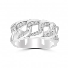 0.45 ct Men's Round Cut Diamond Cuban Link Wedding Band in 14 kt White Gold