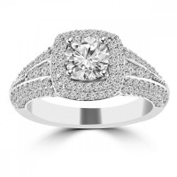 2.02 ct Ladies Round Cut Diamond Engagement Ring in 14 kt White Gold