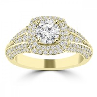 2.02 ct Ladies Round Cut Diamond Engagement Ring in 14 kt Yellow Gold
