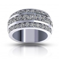 3.00 ct Ladies Three Row Round Cut Diamond Anniversary Wedding Band