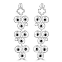 1.02 ct White and Black Round Cut Diamond Chandelier Earrings in 14 kt White Gold