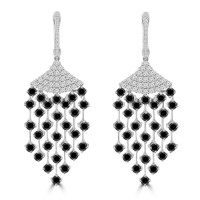 3.75 ct White and Black Round Cut Diamond Chandelier Earrings in 14 kt White Gold