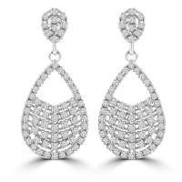 2.08 ct ttw Ladies Round Cut Diamond Drop Dangling Earrings In 14 Kt White Gold