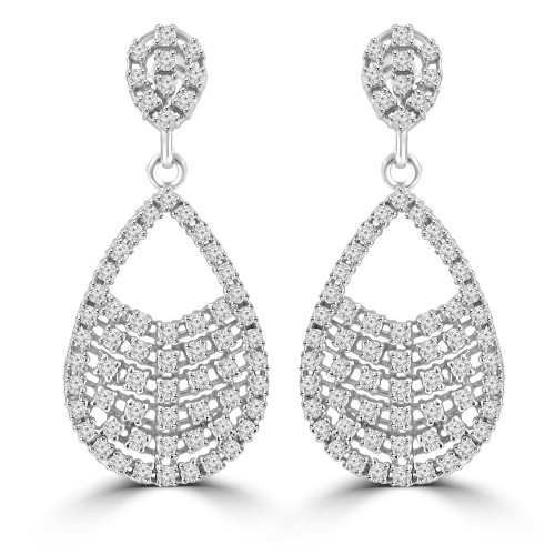 2.08 ct ttw Ladies Round Cut Diamond Drop Dangling Earrings In 14 Kt White Gold