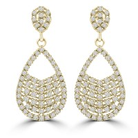 2.08 ct ttw Ladies Round Cut Diamond Drop Dangling Earrings In 14 Kt Yellow Gold