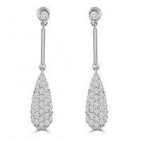 0.95 ct Ladies Round Cut Diamond Drop Dangling Earrings In 14 Kt White Gold