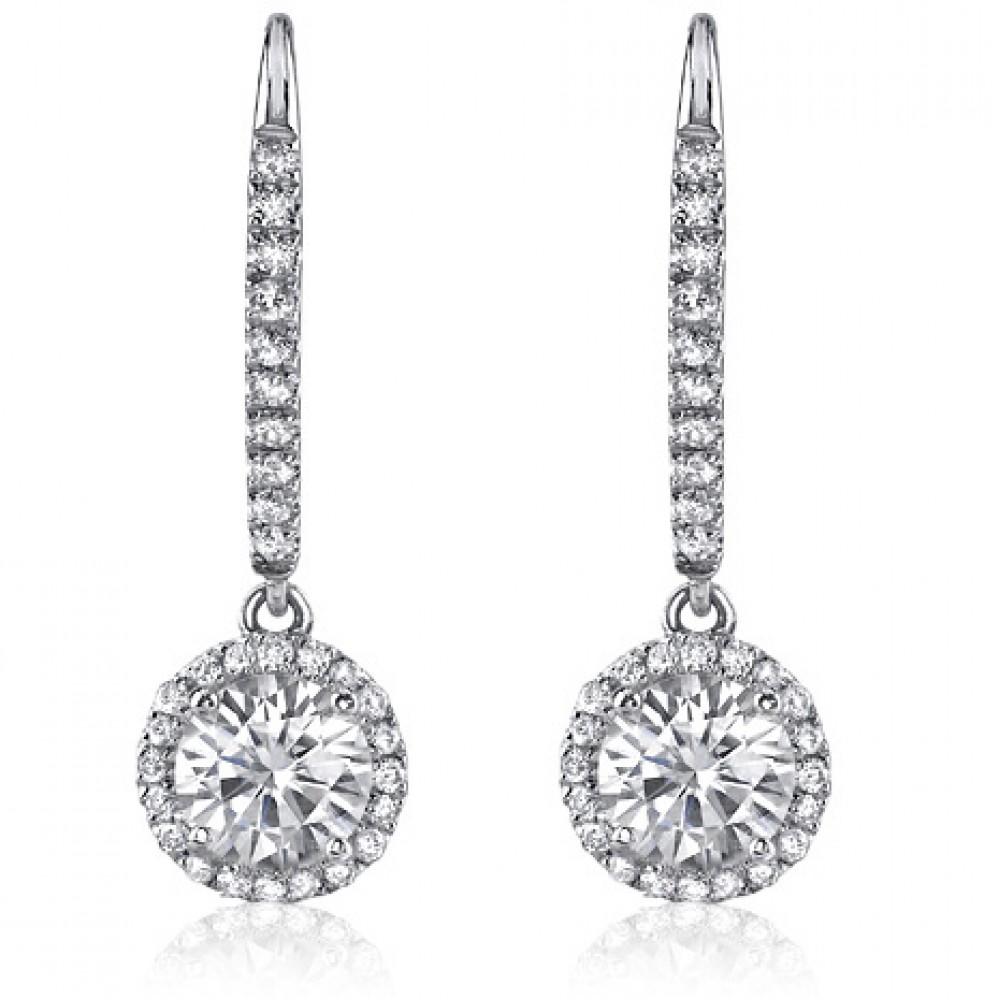 1 50 Ct Ladies Round Cut Diamond Drop Earrings In White Gold