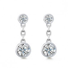 0.60 ct Ladies Round Cut Diamond Drop Earrings