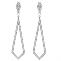 1.28 ct Round Cut Diamond Chandelier Earrings in 14 kt White Gold