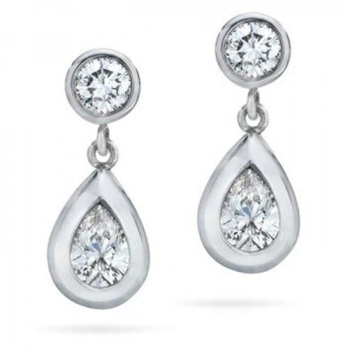 1.50 ct Ladies Round Cut Diamond Drop Earrings