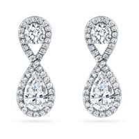 3.50 ct Ladies Round Cut Diamond Drop Earrings