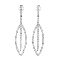 1.27 ct Round Cut Diamond Chandelier Earrings in 14 kt White Gold