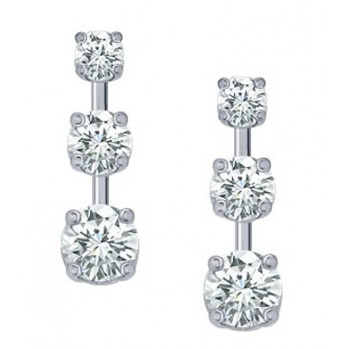 1.00 Ct Ladies Three Stone Diamond Drop Earrings
