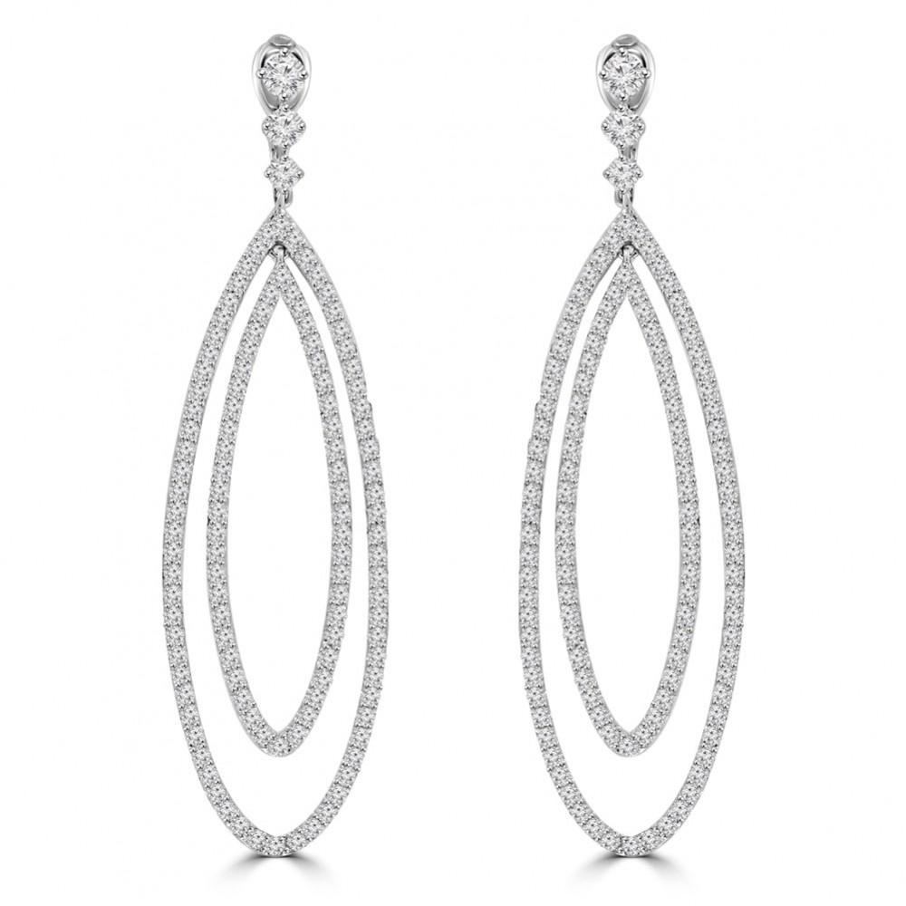 4 55 Ct Ladies Round Cut Diamond Dangling Chandelier Earrings In 14 Kt White Gold