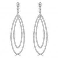 4.55 ct Ladies Round Cut Diamond Dangling Chandelier Earrings In 14 Kt White Gold