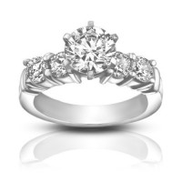 1.70 ct Women's Round Cut Diamond Engagement Accented Ring