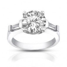 1.10 ct Ladies Round / Bagutte Cut  Diamond Engagement Ring