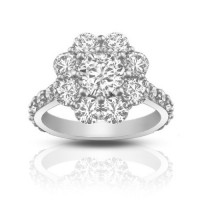2.90 ct Round Cut Diamond Cluster Engagement Ring