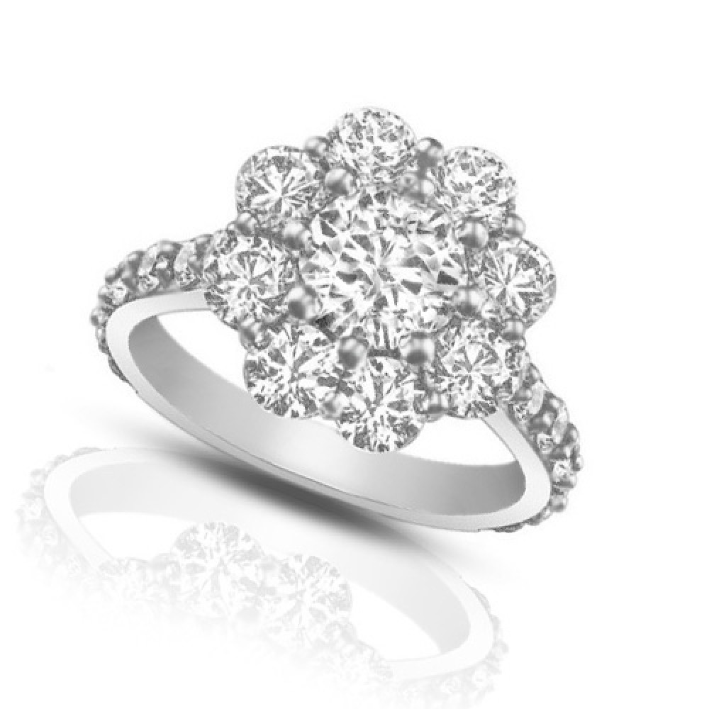 ct round cut diamond cluster engagement ring