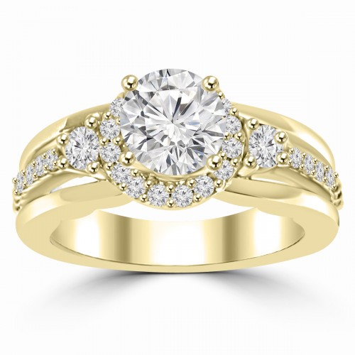 1.20 ct Ladies Round Cut Diamond Semi Mounting Engagement Ring in 14 kt Yellow Gold