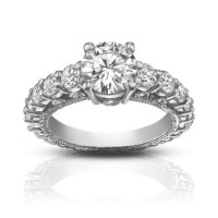 2.25 ct Ladies Round Cut Diamond Accented  Engagement Ring