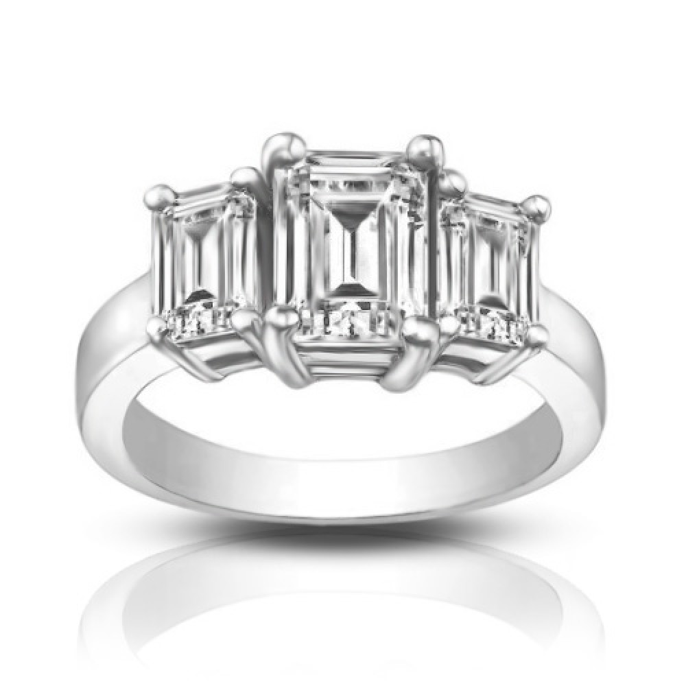 1 75 ct Three Stone Emerald Cut Diamond Engagement Ring