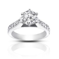 1.25 ct  Ladies Round Cut Diamond Engagement Accented Ring