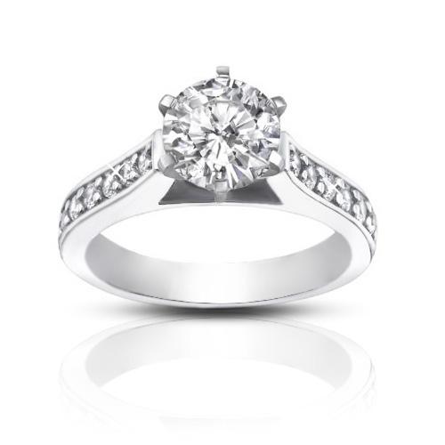 1.25 ct  Ladies Round Cut Diamond Engagement Accented Ring