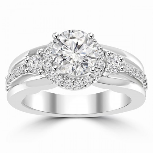 1.20 ct Ladies Round Cut Diamond Semi Mounting Engagement Ring in 14 kt White Gold