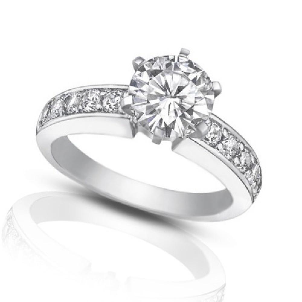 Engagement Rings Round Cut: 1.35 Ct Ladies Round Cut Diamond Engagement Ring
