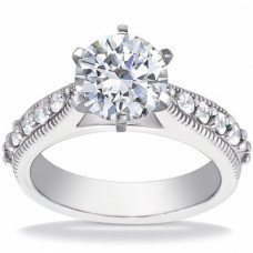1.00 ct Round Cut Diamond Engagement Ring Whit Millgrain on The Shank