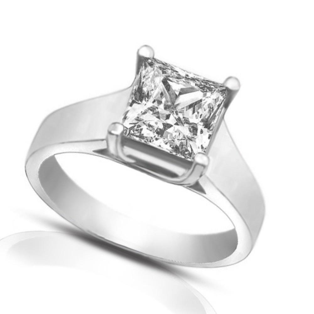 1.50 Ct Ladies Princess Cut Diamond Engagement Ring