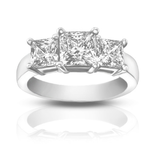1 95 ct La s Three Stone Princess Cut Diamond Engagement Ring
