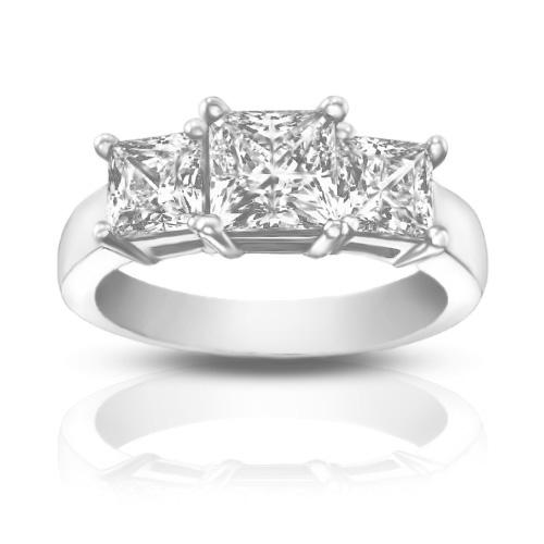 1 95 ct La s Three Stone Princess Cut Diamond Engagement Ring
