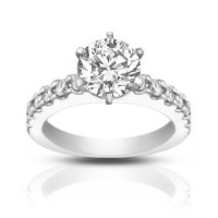 1.45 Ct Round Cut Diamond Engagement Ring With Accented Diamonds