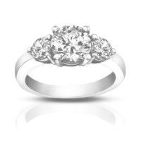 1.95 Ct Ladies Round Cut Diamond Three Stone Engagement Ring
