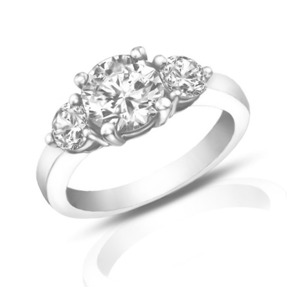 1 95 Ct La s Round Cut Diamond Three Stone Engagement Ring