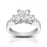 1.53 ct Ladies Princess Cut Diamond Engagement Ring
