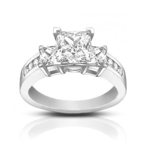 1 53 ct La s Princess Cut Diamond Engagement Ring