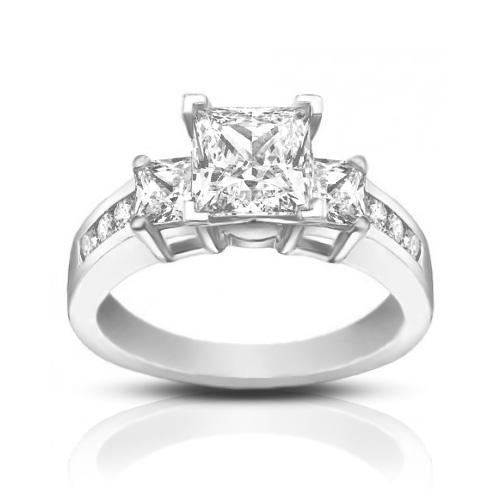 1 53 ct La s Princess Cut Diamond Engagement Ring