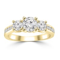1.97 ct Ladies Three Stone Round Cut Diamond Engagement Ring in 14 kt Yellow Gold