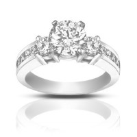 1.25 ct  Ladies Round Cut Diamond Engagement Accented Ring in White Gold